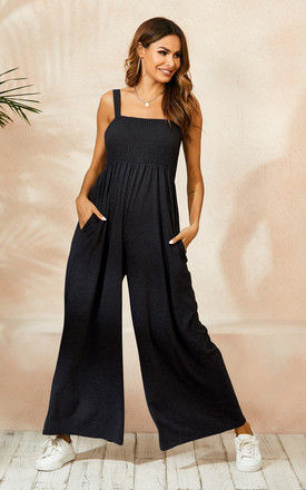 Strappy Bardot Loungewear Jumpsuit In Black by FS Collection