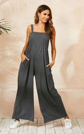 Strappy Bardot Loungewear Jumpsuit In Charcoal Grey by FS Collection
