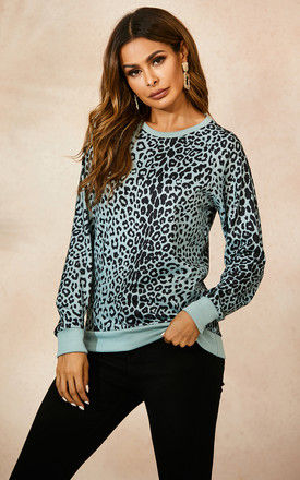 Mint Green Top In Black Animal Print by FS Collection