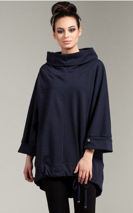 Navy blue tunic with turn up sleeves by MOE