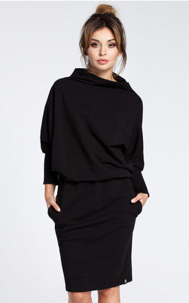 Black dress with a knee length pencil skirt by MOE