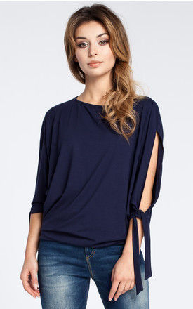 Navy blue blouse with open shoulder and tie short kimono sleeve by MOE
