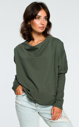 Military Green V Back Oversized Long Sleeve Top by MOE