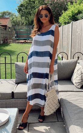 White, Grey and Navy Stripe Midi Dress by Bella and Blue