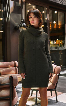 High Neck Knitted Dress in Khaki Green by MOE