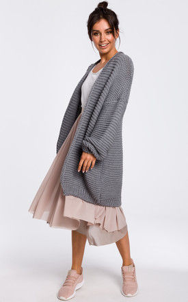 Grey Oversized Cardigan with Wide Sleeves by MOE