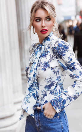 Pussybow Blouse in Blue Orchid Print by Anne Louise Boutique