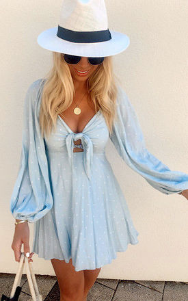 Somerset Mini Dress in Blue Polka Dot by Charlie Holiday
