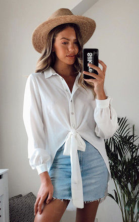 Eden Tie Front Shirt With Buttons Ivory by Love