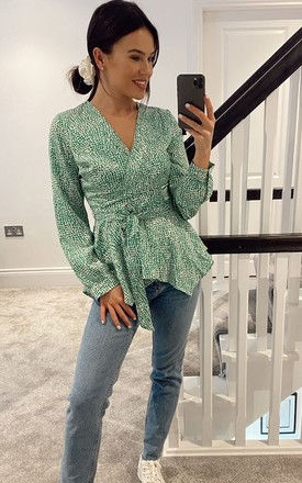 Poppy Wrap Neck Top Green Print by Girl In Mind
