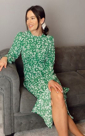 Cass Long Sleeves Split Leg Midi Dress Green Ditsy Floral by Girl In Mind