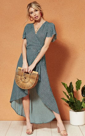 MARTINIQUE High Low WRAP DRESS in printed turquoise by Band Of Gypsies