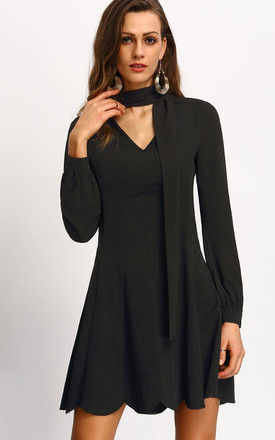 Tie Neck Skater Dress by Oeuvre
