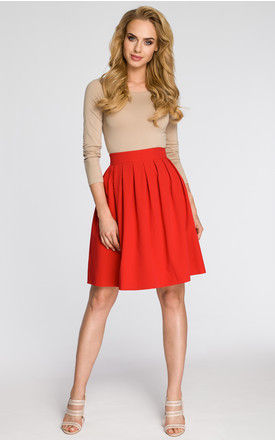 Knee Length Skirt with Pleats in Red by MOE