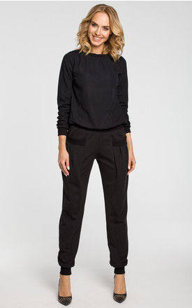 Black Wide Leg Trousers Pumps With Ribbed Trim Finishing And Draped Front Pockets by MOE