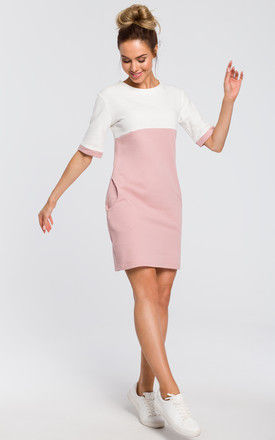 Short sleeved mini dress in pink and white colourblock by MOE