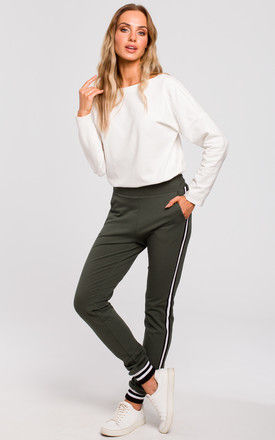 Military Green Jogging Bottoms with Side Stripe by MOE