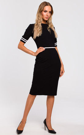 Black Tailored Midi Dress with Stripe Detail by MOE