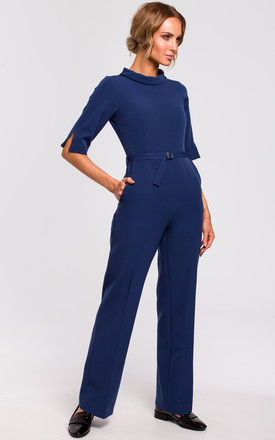 Wide Leg Jumpsuit with Round Collar in Navy Blue by MOE