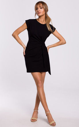 Mini Dress with Knot in Black by MOE