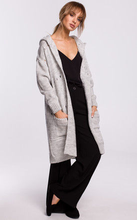 Cozy Hooded Open Front Cardigan in Grey by MOE