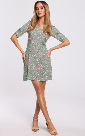 Mini Day Dress with V-Neck in Grey Floral Print by MOE