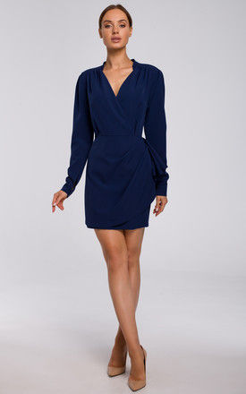 Navy Blue Mini Wrap Dress with Side Detail by MOE