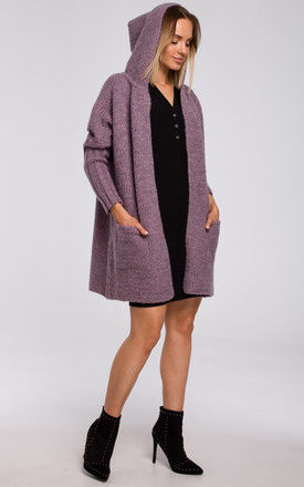 Comfortable Chunky Knit Hooded Cardigan in Violet by MOE