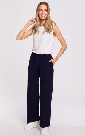 Loose Leg Trousers with Pockets in Navy Blue by MOE