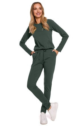 Jumpsuit with Patch Pockets in Green by MOE