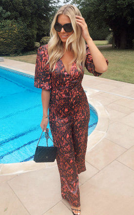SATIN JUMPSUIT WITH BUTTONS & PUFF SLEEVE IN PINK ANIMAL PRINT by Phoenix & Feather