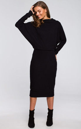 Knitted midi jumper dress with Draped Neckline in Black by MOE