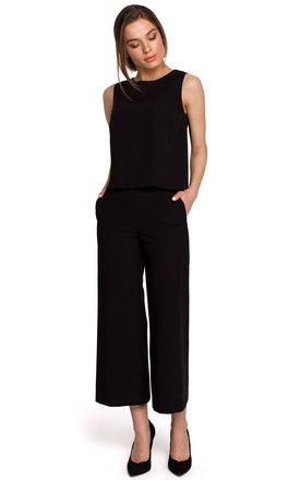 7/8 Wide Leg Trousers with Patch Pockets in Black by MOE