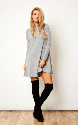 Grey Long Sleeve Swing Dress by Bella and Blue