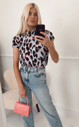 Short Sleeve Leopard Print Top in Blue Animal Print by Marc Angelo