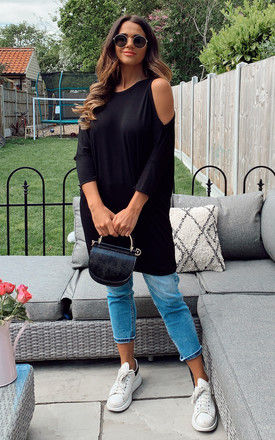 BLACK COLD SHOULDER JERSEY BATWING TOP by Bella and Blue