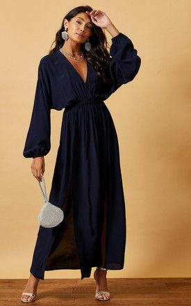 MAXI BATWING DRESS WITH WRAP TOP IN NAVY by Phoenix & Feather