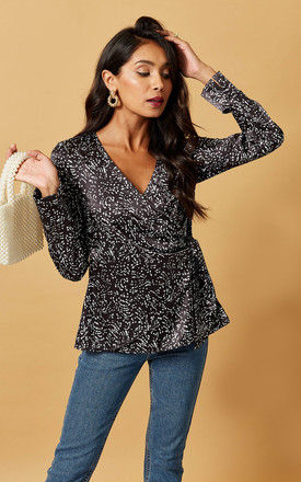 SATIN WRAP TOP IN BLACK SCATTER PRINT by Phoenix & Feather